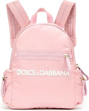 Różowy plecak z nylonu Dolce & Gabbana Kids