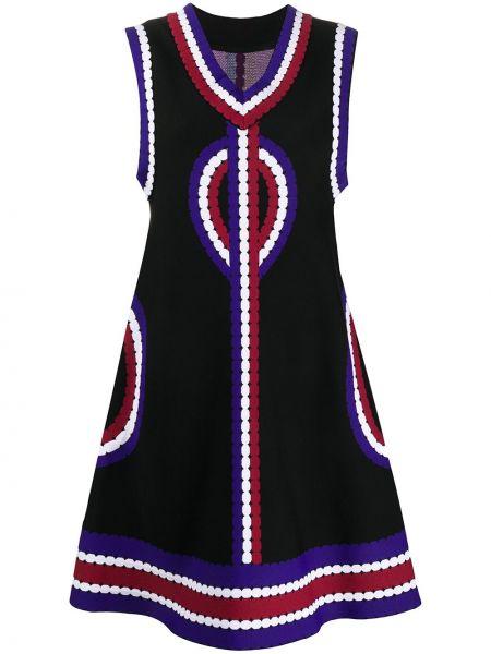 Черное платье без рукавов с рисунком на молнии Alaïa Pre-owned