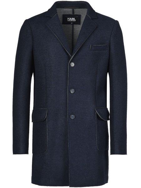 Шерстяное пальто - синее Karl Lagerfeld