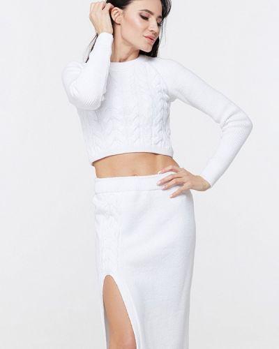 Белый вязаный костюм Brunello De Neri