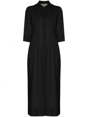 Льняное прямое черное платье миди Asceno