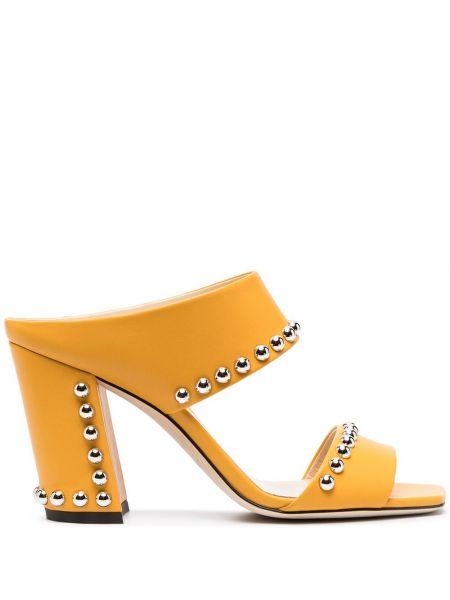 Żółty skórzany sandały na pięcie Jimmy Choo