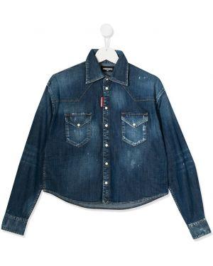 Хлопковая синяя джинсовая рубашка с карманами на кнопках Dsquared2 Kids
