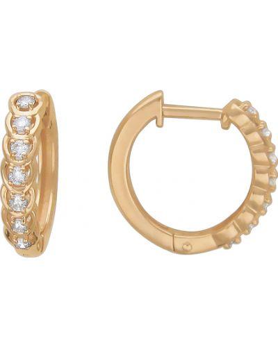 Золотые серьги с бриллиантом эстет
