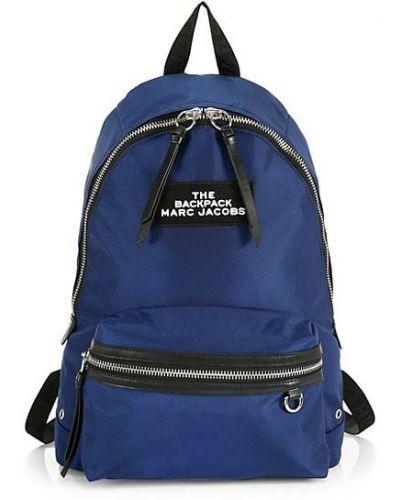 Niebieski sport plecak z haftem z nylonu Marc Jacobs