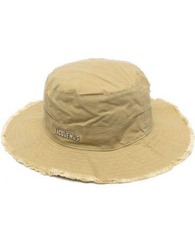 Хлопковая зеленая шапка с опушкой Jacquemus