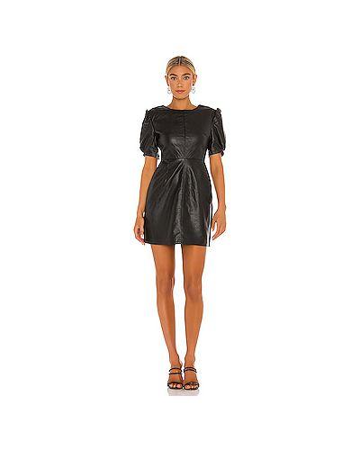 Черное кожаное платье мини с карманами Cupcakes And Cashmere