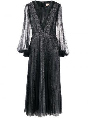 Czarny długo sukienka z tiulu z długimi rękawami okrągły Christopher Kane