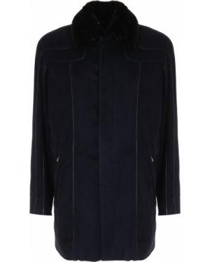 Норковая черная кожаная куртка на молнии с декоративной отделкой Zilli