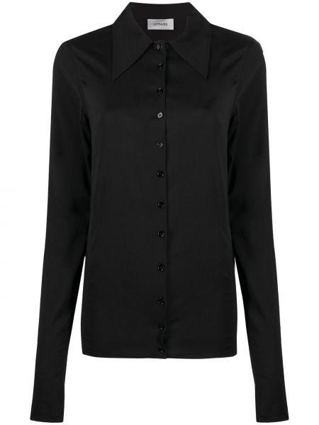 Prosto jedwab czarny koszula z kołnierzem Lemaire