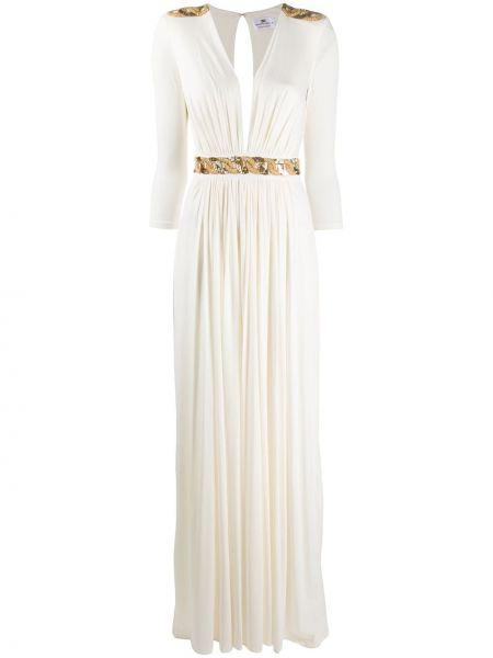 Расклешенное приталенное платье с вышивкой с V-образным вырезом Elisabetta Franchi