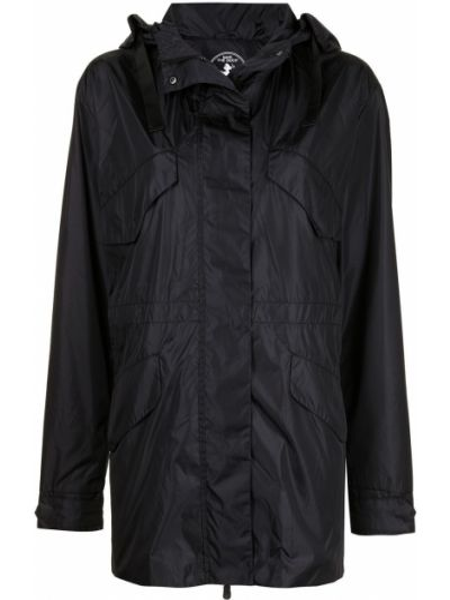Черное длинное пальто с капюшоном на молнии Save The Duck