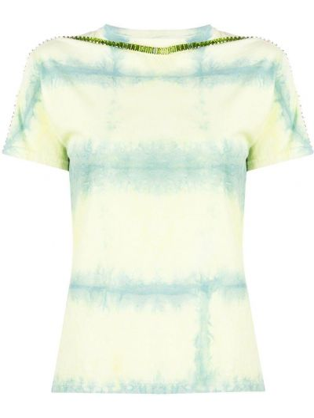 Bawełna limonka koszula z krótkim rękawem z siatką okrągły dekolt Collina Strada
