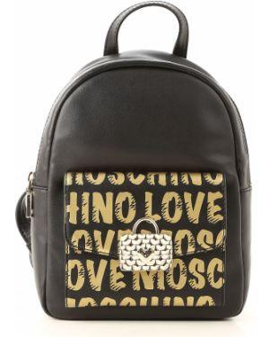 Skórzana torebka torba na torbę czarna Moschino