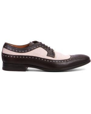 Текстильные комбинированные туфли на шнуровке на каблуке с декоративной отделкой Franceschetti