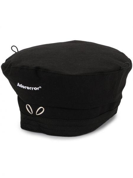 Czarny beret z haftem bawełniany Ader Error