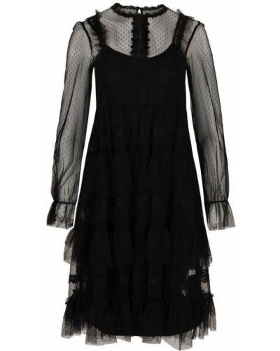Czarna sukienka koronkowa na co dzień Fracomina