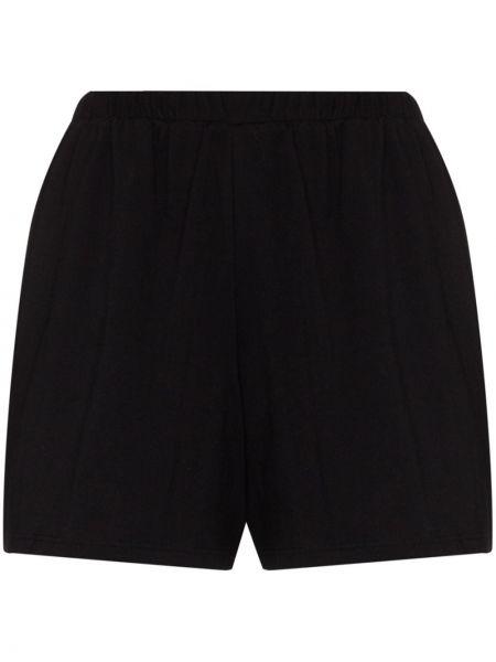 Кожаные свободные черные шорты эластичные Skin