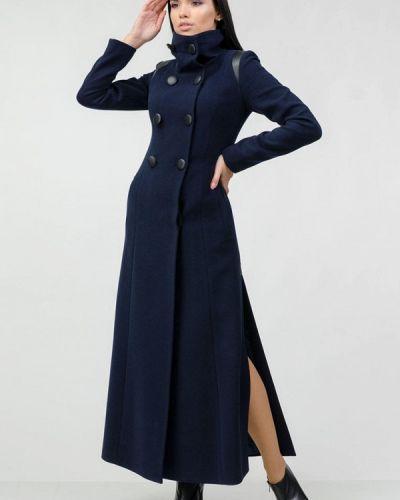 Синее пальто двубортное Raslov