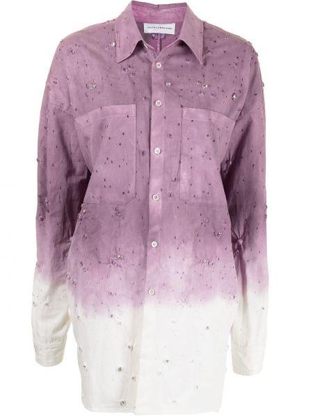 Фиолетовая хлопковая классическая рубашка с воротником Faith Connexion
