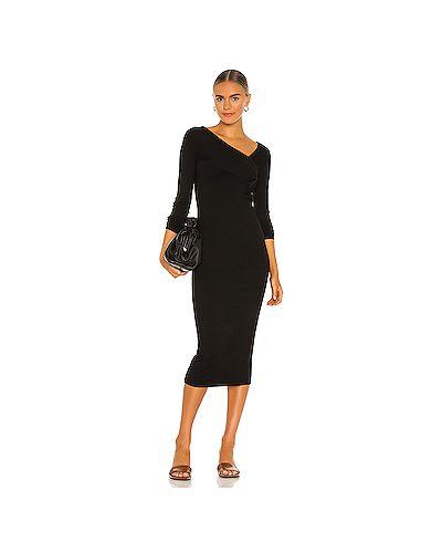 Асимметричное черное шелковое платье в рубчик Enza Costa