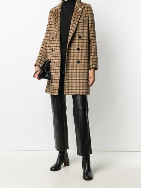 Коричневое шерстяное длинное пальто с лацканами с карманами Lardini