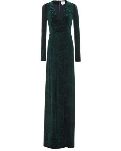 Ażurowa zielona sukienka na imprezę z aksamitu Galvan London