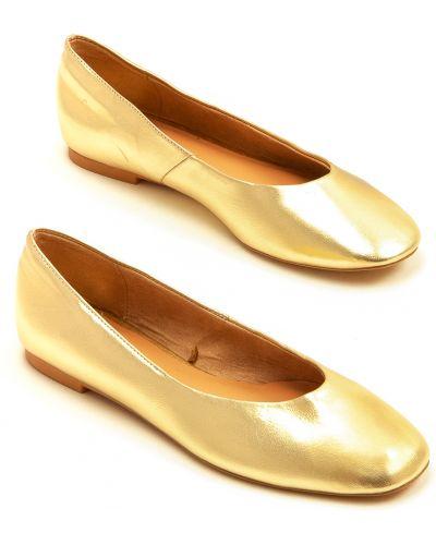 Балетки с круглым носком - золотые Stradivarius