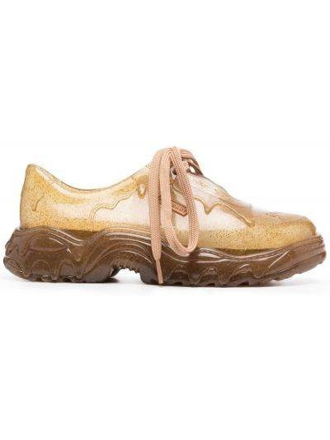 Brązowe sneakersy sznurowane koronkowe Rombaut