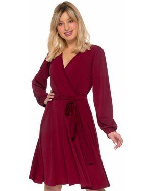 Повседневное платье бордовый с запахом Nikol