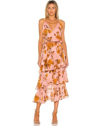 Оранжевое шелковое платье макси с подкладкой Karina Grimaldi