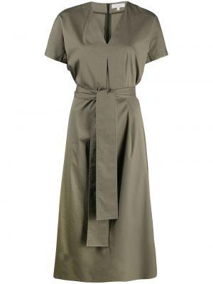 С рукавами зеленое платье миди с V-образным вырезом Antonelli