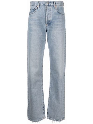 Хлопковые синие прямые джинсы Citizens Of Humanity