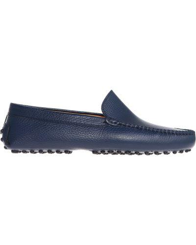 Мокасины кожаные синие Gianros