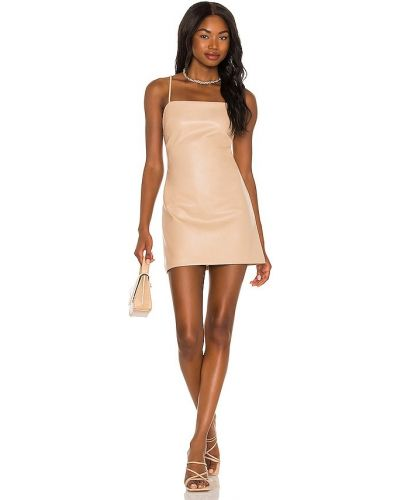 Бежевое кожаное платье Bardot