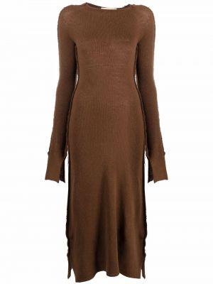 Платье макси с длинными рукавами - коричневое Marni