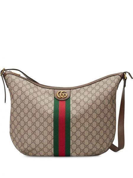 Skórzana torebka worek włóczęgi z płótna Gucci