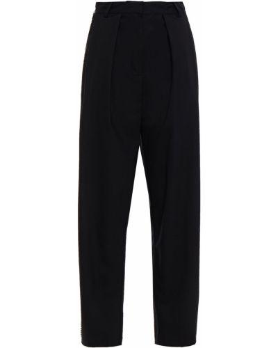 Шерстяные черные брюки стрейч Ronny Kobo