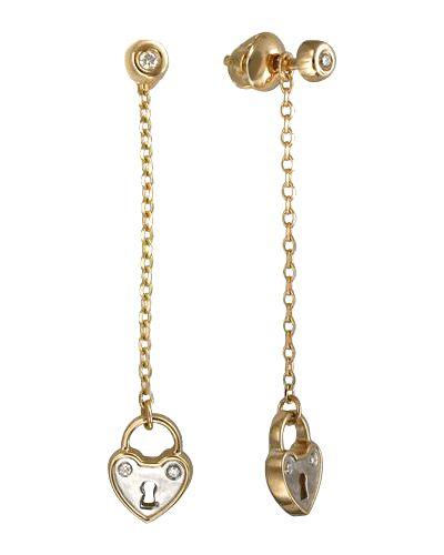 Золотые серьги с бриллиантом с камнями эстет