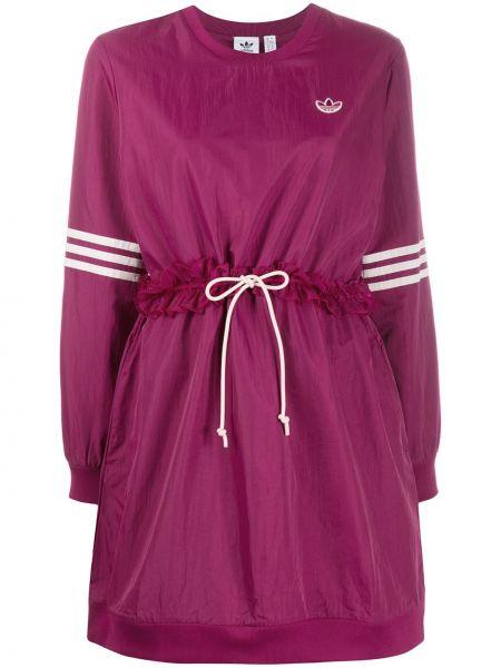 Фиолетовое платье макси с вырезом с оборками Adidas