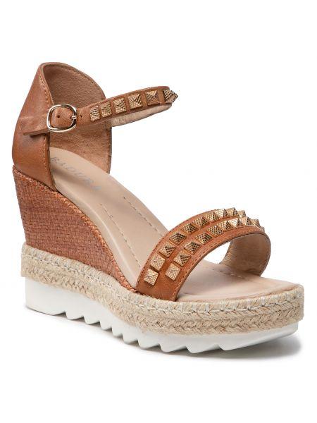 Brązowe sandały espadryle Badura