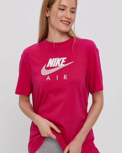 Różowy top sportowy bawełniany casual Nike Sportswear