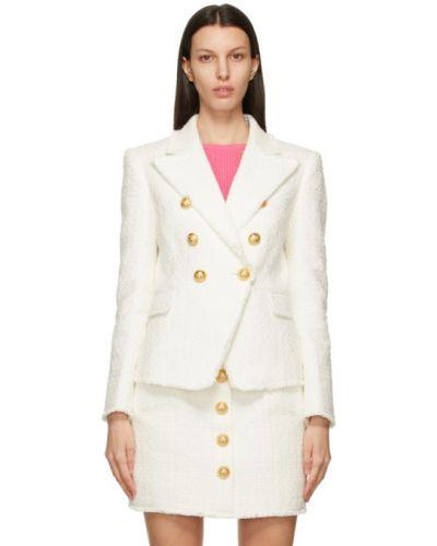 Белый удлиненный пиджак твидовый двубортный Balmain