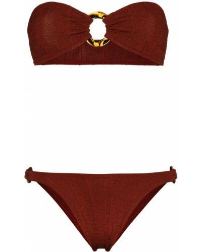 Czerwony bikini z wysokim stanem z nylonu Hunza G