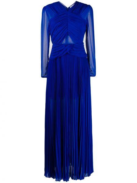 Платье макси плиссированное с V-образным вырезом Self-portrait