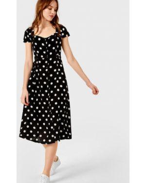 Черное платье миди на пуговицах с вырезом с короткими рукавами Ostin