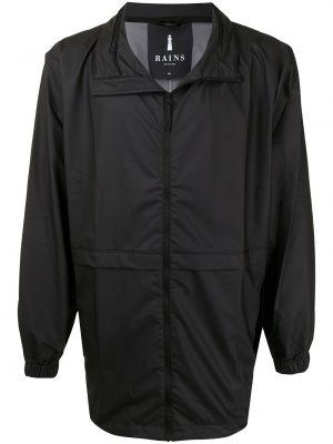 Черная куртка на молнии с воротником Rains