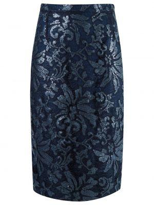 Ажурная с завышенной талией синяя юбка миди Gloria Coelho