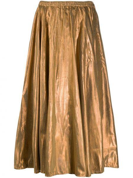 Коричневая с завышенной талией юбка на резинке с люрексом Mes Demoiselles