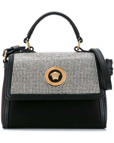 Золотистая черная кожаная сумка на плечо Young Versace